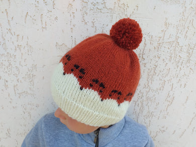 Fox hat for woman with pompom, knitted hat with fox universal size