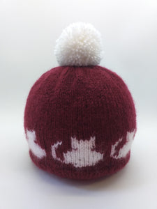 Handmade knitted hat with cats with pompom, hat cat with pompom