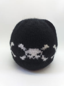 Halloween skull beanie hat with bones knitted for woman or teen
