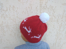 Load image into Gallery viewer, Christmas hat with reindeer and big pompom