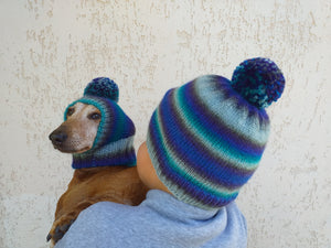 Mistress and dog set of knitted hats with pompom, women's hat and hat for dog
