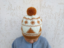 Load image into Gallery viewer, Christmas golden hat with Christmas snowballs and a big pompon