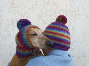 Clothes for mom and dachshund set of knitted hats with pompom