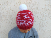 Load image into Gallery viewer, Christmas red hat with gifts reindeer and pompom