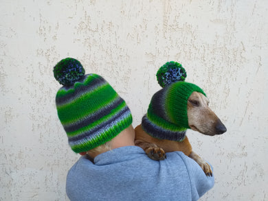 Set of hats for mom and dog with pompom