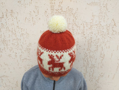Christmas reindeer women's hat with handmade pompom