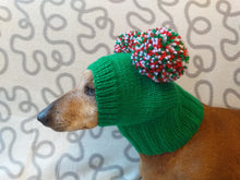 Load image into Gallery viewer, Christmas dog clothing hat with two pom poms