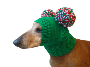 Christmas dog clothing hat with two pom poms