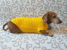 Load image into Gallery viewer, Yellow knitted sweater for dachshund or small dog