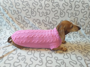 Pink knitted sweater for small dog, clothes for dachshunds