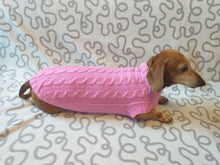 Load image into Gallery viewer, Pink knitted sweater for small dog, clothes for dachshunds