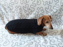 Load image into Gallery viewer, Handmade black knitted sweater for miniature dachshund or small dog, clothes for miniature dachshund