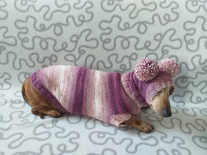 Dachshund costume sweater and hat with two pompoms