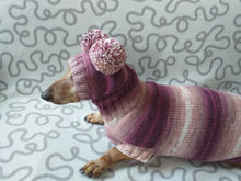 Load image into Gallery viewer, Dachshund costume sweater and hat with two pompoms