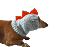 Load image into Gallery viewer, Dinosaur dog clothes hat snood, dachshund snood dinosaur