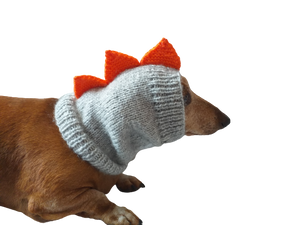 Dinosaur dog clothes hat snood, dachshund snood dinosaur