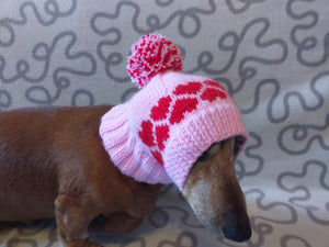 Clothes for dog pink hat with hearts and pompom