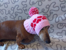 Load image into Gallery viewer, Clothes for dog pink hat with hearts and pompom