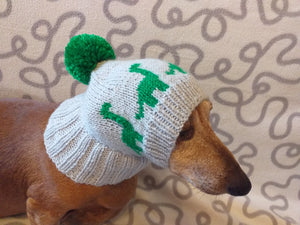 Dinosaur dog clothes pom pom hat, dinosaur hat for dachshund dog