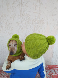 Mother and dog hats set, family hostess and dachshund hats set