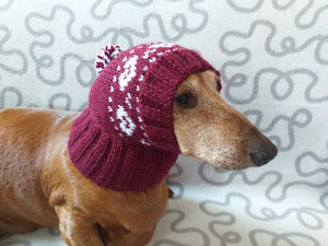 Cherry hat with hearts for small dachshund dog