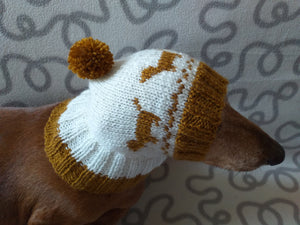 Hat for dachshund with dogs, knitted hat for dogs with dogs