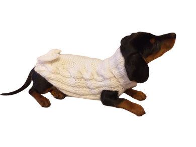 Sweater with bow for a small dog or dachshund puppy knitted angora wool handmade