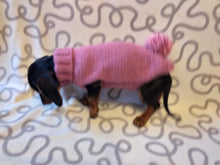 Load image into Gallery viewer, Sweater with pompom for dachshund puppy or small dog knitted of angora wool handmade.