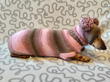 Load image into Gallery viewer, Costume for miniature dachshund sweater and hat, Doxie sweater and hat set