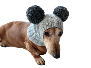 Hat for mini dachshund with two pompons