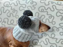 Load image into Gallery viewer, Hat for mini dachshund with two pompons