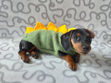 Load image into Gallery viewer, Dinosaur sweater for small dog, clothes for dog dinosaur, knitted dinosaur sweater, sweater for chihuahua, sweater for yorkshire terrier, sweater for toy terrier