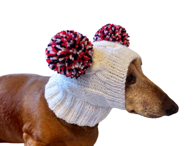 Knitted hat dog with two pom-pom for mini dachshunds or small dogs