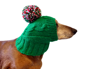 Christmas knitted green hat with colorful pompom, christmas dog clothes hat, christmas hat for dachshund