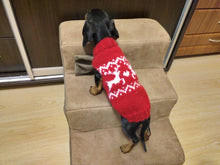 Load image into Gallery viewer, Red christmas sweater with reindeer for dog, christmas red sweater for dachshund