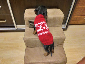 Red christmas sweater with reindeer for dog, christmas red sweater for dachshund