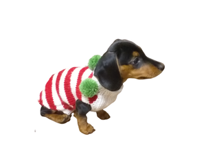 Christmas striped sweater for dog with pom poms, christmas sweater for dachshund,christmas dog clothes