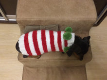 Load image into Gallery viewer, Christmas striped sweater for dog with pom poms, christmas sweater for dachshund,christmas dog clothes