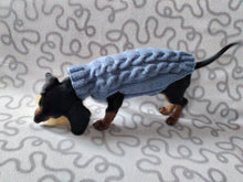 Load image into Gallery viewer, Handmade gray knitted sweater for dog, clothes for dachshund, sweater for dog, clothes for dog, sweater for small dogs, dachshund sweater