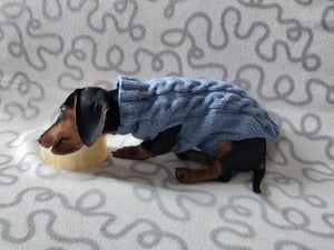 Handmade gray knitted sweater for dog, clothes for dachshund, sweater for dog, clothes for dog, sweater for small dogs, dachshund sweater