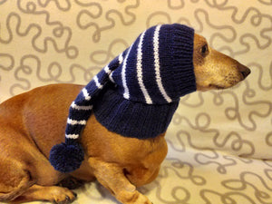 Winter Christmas clothes for dogs knitted hat with pompon, doxie clothes, doxie hat