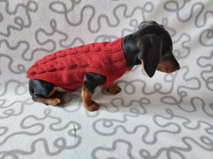 Wine-colored knitted sweater for dachshund dog, clothes for dachshunds, sweater for dog, clothes for dog, sweater for small dogs