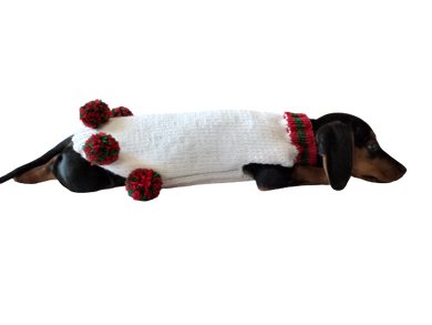Christmas sweater for dog with pom poms, christmas sweater for dachshund,christmas dog clothes