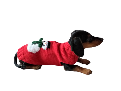 Christmas snowman red dog sweater, santa dog sweater, christmas dog clothes, christmas dachshund sweater