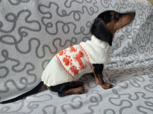 Dachshund paws knitted sweater for dogs,dachshund sweater with red dachshunds,clothes for dachshund knitted sweater