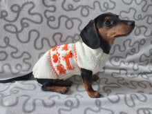 Load image into Gallery viewer, Dachshund paws knitted sweater for dogs,dachshund sweater with red dachshunds,clothes for dachshund knitted sweater