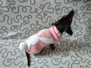Sweater with rabbit with a pompom for dog, Easter sweater with rabbit for dog