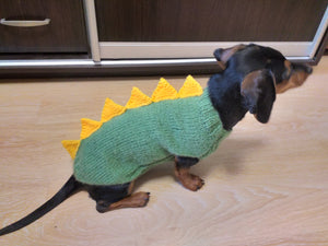 Dinosaur sweater for small dog, clothes for dog dinosaur, knitted dinosaur sweater, sweater for chihuahua, sweater for yorkshire terrier, sweater for toy terrier