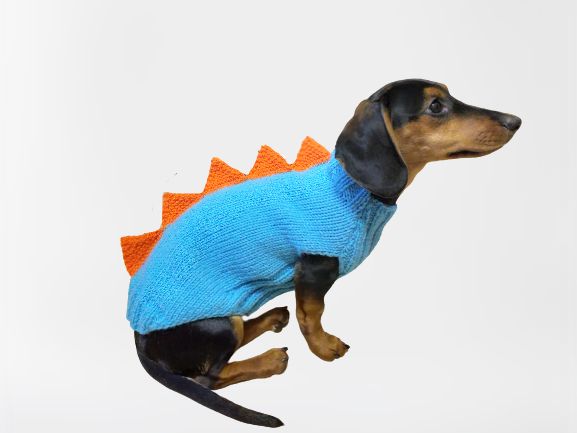 Dinosaur knitted jumper for small dogs, dinosaur sweater for dog, dachshund dinosaur sweater for dogs