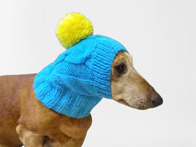 Blue hat with yellow pompom for small dogs, dog clothes hat with pompom, dachshund hat with pompom